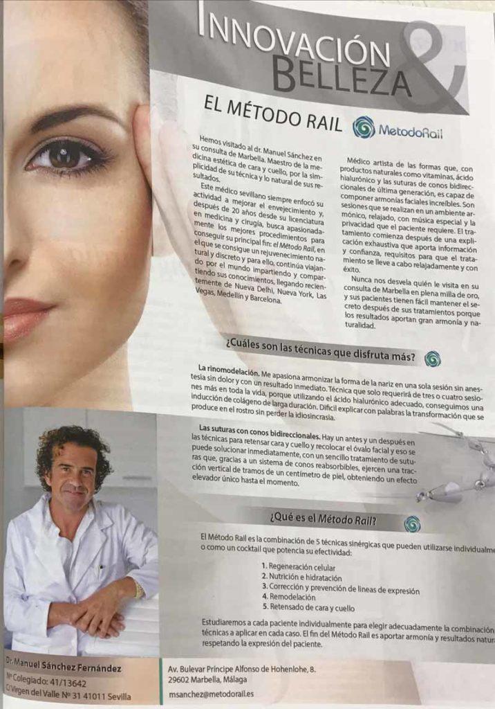 Publicacion entrevista al Dr Sanchez de Metodo Rail en la revista Telva